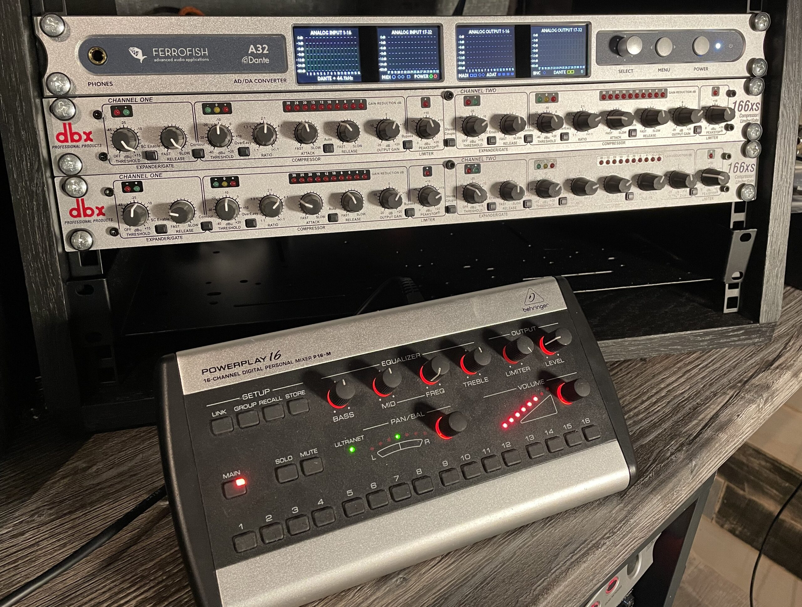 Ferrofish A32 DANTE Converter with Behringer P16 Digital Monitoring System